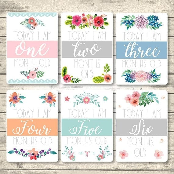 Flowers Printable Baby Monthly Milestone, Milestone Cards, First Year Cards, Baby Shower Gift, Instant Download