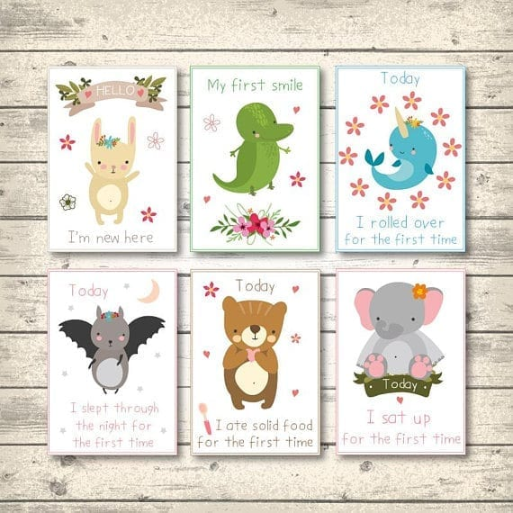 milestone cards, printable baby cards for photos
