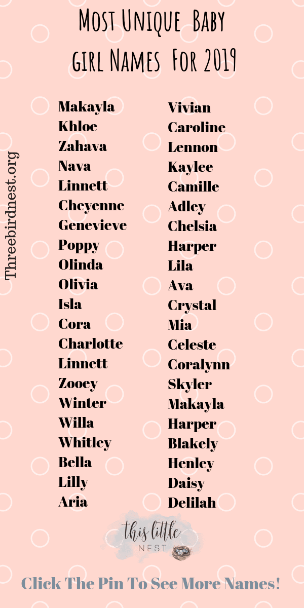 The Prettiest , Most Unique Baby Girl Names For 2019 ...
