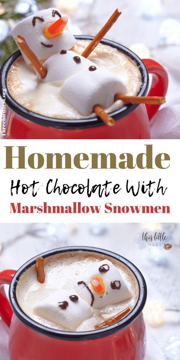 hot chocolate recipe with marshmallow snowman #hotchocolaterecipe